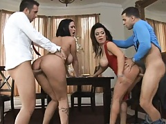 Two hot milfs get doggy fucked