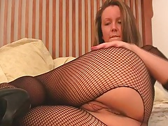 Solo fishnet masturbating girl with Kayden Krush