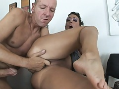 Busty ricky gets sideways fucked on office desk