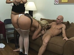 Two big tits teachers are happy to fail a big dick student