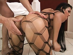 Hot round ass in nets gets on knees and fucked anally