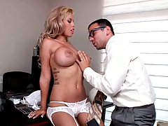 Slut with huge tits has to fuck the auditor