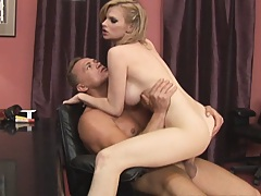 Whore at work rides cock and gets cummed in mouth