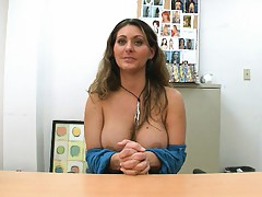 Big tits milf in the back room on our table Devin James