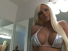 Big tits Rikki Six gets ass and pussy licked with kneeling blowjob
