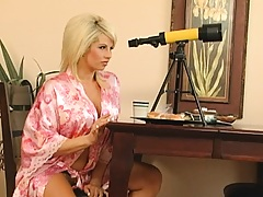 Hot milf is spying on her young neighbour