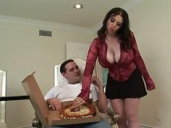 Brunette pizza handjob with Daphne Rosen in her miniskirt