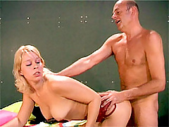 Blonde girl fucking a weatly old photographer