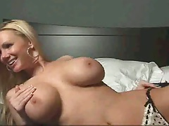 Big tits gf laying sideways touching her vagina