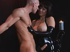 Busty naughty wife Sienna takes advantage of tied up cock