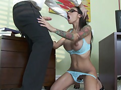 Busty Angelina sucks and pulls her panties off for fucking