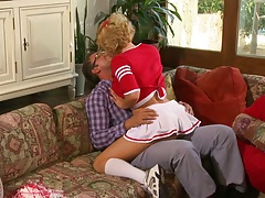 Krissy Lynn riding nerd in her sexy cheerleader outfit
