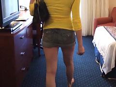 Teen shows off whats under that short skirt