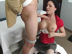 School nurse Jessica James sucking her sick student