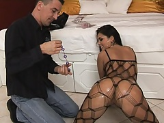 Hot round oiled up ass gets some anal balls