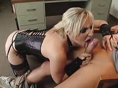 Blonde whore sucks off that cock and then bends over