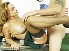 Fucking big tits teacher Rebecca Bardoux up her skirt with blowjob