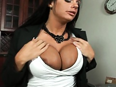 Boss with big tits trys to help a worker