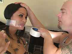 Sophia Lomeli gets her mouth taped shut and hands tied