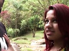 Hot slut by a brazilian waterfall