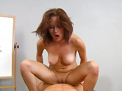Cowgirl medium tits sex with shaved pussy Mae Meyers on the desk