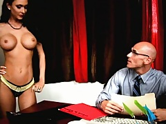 Busty boss plays with her coworker