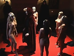 Hot chicks in a masquarade party have an orgy