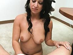 Sexy brunette Riley Knight sucking some shaft