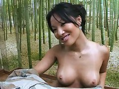Sexy asian babe with big tits sucks cock