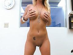 Big tits nympho slut fingers herself for the camera