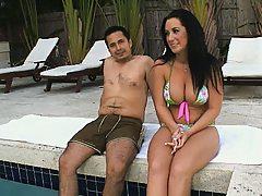Hot pornstar and a dude go swiming topless