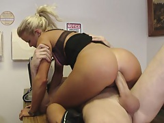 Chick sits on clients cock