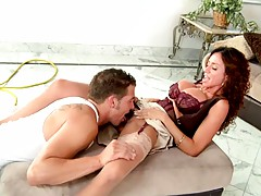 Raising up milfs skirt and eating pussy