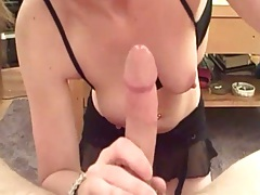 Pov blowjob from amateur gf FireFlame with natural nice boobs