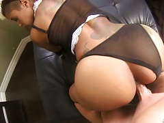 Doggy style black girl gets white cock up her maid uniform Skin Diamond