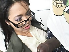 Nice little asian hotite finds a big black cock