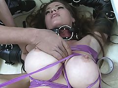 Milf gets all taped up and tangled while being fucked