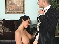 Busty Jayden Jaymes goes on her kness for blowjob