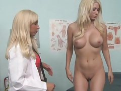 Doctor and her nude female patient have pussy exam