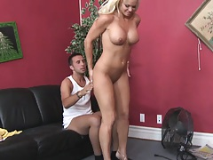 Busty milf rides cock reverse cow girl style on office couch