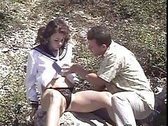 Outdoor teen dressed all cute fucked by the rock