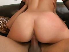 Cowgirl riding cock Holly on the couch