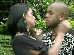 Latina girl gets fingered by black man outdoos