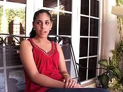 Latina sitting on the prorche