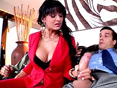 Big tits milf in red is stuck between two dicks