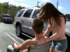 Outdoors parking lot and teen Maxi Booty tugs and jerks