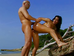 Outdoors sex on a beach naked tanned hottie