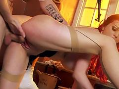 Naughty army redhead nurse Jasmine James sex and titty fuck