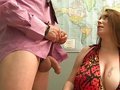 Big natural boobies Desiree Deluca handjob and biting cock head