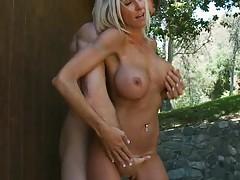 Horny blonde milf sittin gon penis of her caretaker
